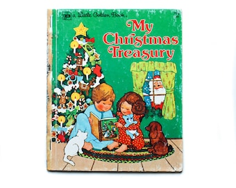 A Christmas Treasury Compiled by Gale Wiersum Illustrated by Sylvia Emrich A little Golden Book 1976 Golden Press Vintage Christmas