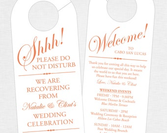 Set of 10 - Double-Sided Door Hanger for Wedding Hotel Welcome Bag - Wedding Weekend Itinerary - Destination Wedding - Schedule of Events