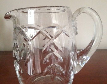 Heavy cut glass vintage jug/pitcher