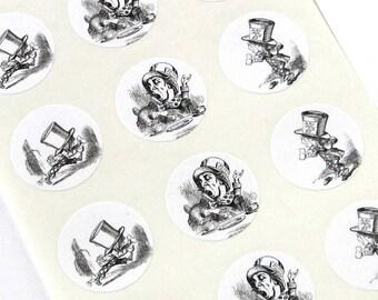 Mad Hatter Alice in Wonderland Stickers - One Inch Round Seals