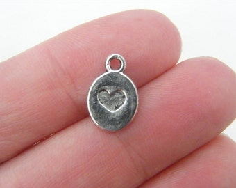 25 Heart charms antique silver tone H40