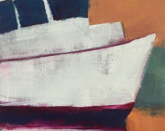 Elle's Angels - original acrylic 7x5 inches unframed painting of a working boat in harbor in the fall by Maryland artist Barb Mowery