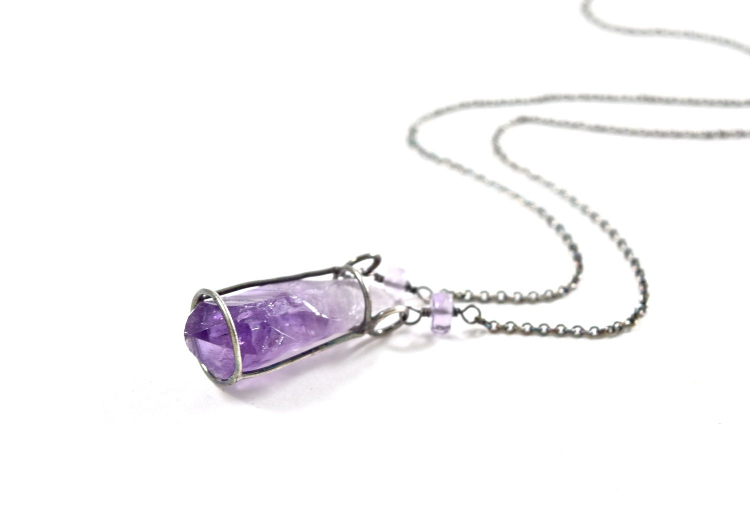 rose amethyst necklace citrine romantic irregular wholesale rock women for crystal natural fluorite wrap quartz product new raw pendant jade beads stone mens wire
