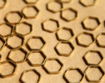 100 pc. Raw Brass Hexagon Links: 10mm by 9mm | FI-386