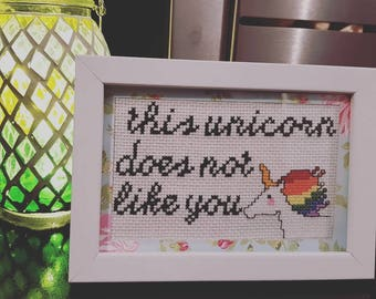 Offensive Cross Stitch- Pissed off Unicorn - Finished framed Cross Stitch