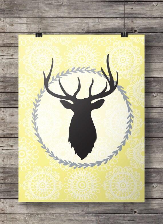 Yellow deer head Printable wall art deer stag antlers