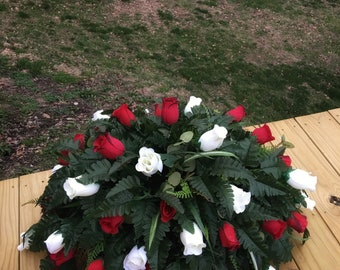 Cemetery Flowers, Memorial Flowers, Grave Flowers, Headstone Flowers, Cemetery Saddle Headstone Saddle Grave Decoration Cemetery Arrangement