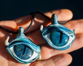 Glass Eye Pendant - Heady Glass Pendant - Blown Glass Pendant - Heady Mens Pendant - New Age Jewelry - Mystic Gift - Blown Glass Necklace