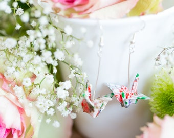 White Elegance, Origami Crane Earrings, Sterling Silver, Yuzen Chiyogami, Japanese art, Origami Jewelry, Jewellery
