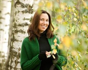 Green cardigan, chunky cocoon wool cardigan, oversized cardigan, knit sweater, cardigan sweater, woman knitwear, spring sweater