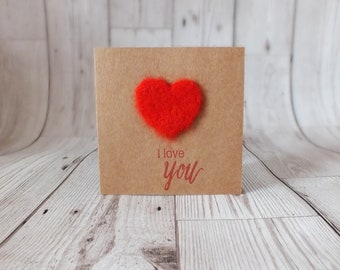 Needle Felted Heart 'I Love You' Card - Greetings Card, Needle Felted, Love, Heart, Anniversary, Valentines