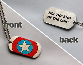 "Captain America dog tags (""till the end of the line"" lettering)"