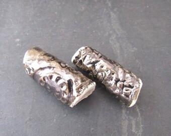 2 Large Bronze White Stoneware Tube Beads