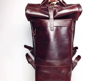 Brown backpack, top roll backpack, duffle bag, hipster backpack, leather backpack purse, mens backpack, leather rucksack, womens backpack