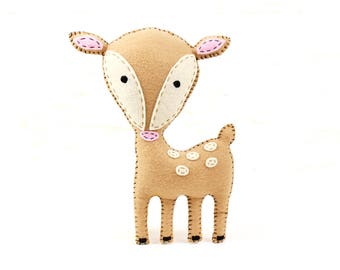 Deer Stuffed Animal Pattern, Felt Hand Sewing Deer Plushie Pattern, Fawn Softie Pattern, Instant Download PDF