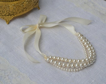 Charlene: Beautiful 3 / Triple Strand Pearl Necklace with Ribbon Tie - All Ivory
