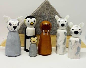 Arctic Animals Peg dolls set x6