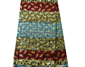 African fabric 6 yards, Wholesale Supreme Wax  Holland , African clothing , African print , Gold Metallic SW40