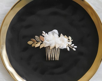 Bridal Headpiece Flower Hair Comb - Wedding Headpiece - Ivory Flower Gold Leaves Bridal Flower Hair Comb Bridal Comb