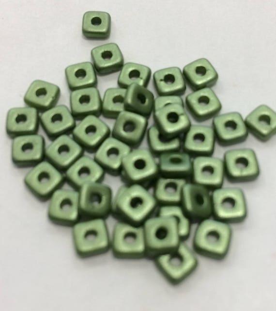 Czech Quad Beads Pastel Olivine 5g (approx 110 beads)