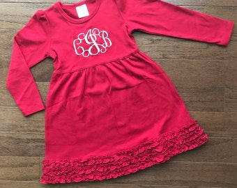 Monogrammed Red Ruffle Dress