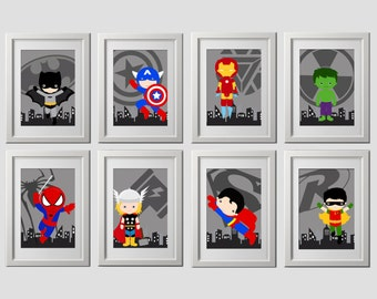 superhero wall art PRINTS, set of 8, super hero wall art, superhero nursery, bedroom wall art, 8 high quality prints, shipped to your door!