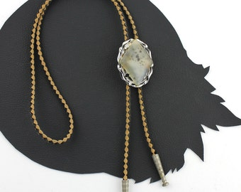 Cloudy Stone Bolo Tie on Black & Tan Leather Cord