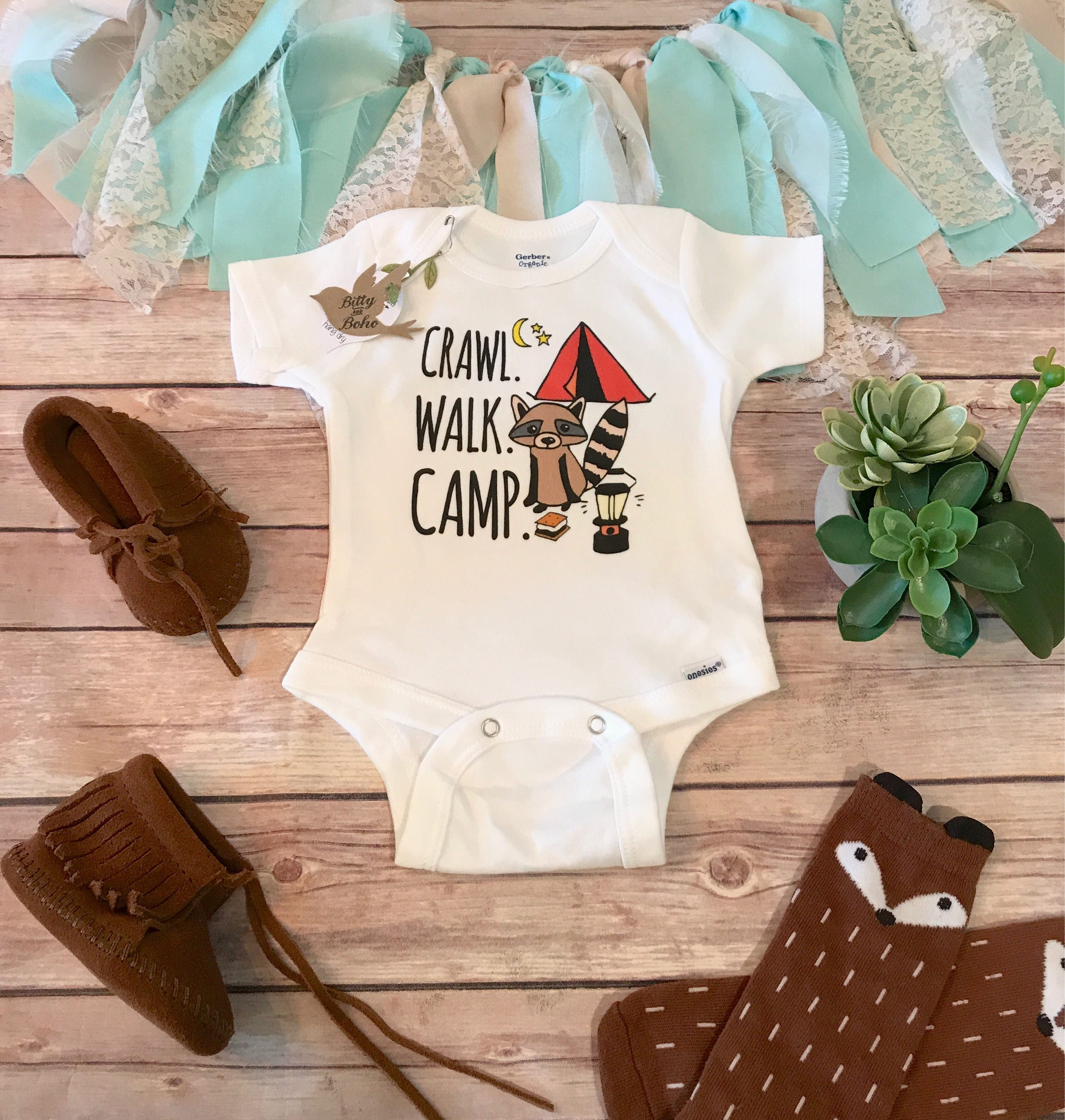 Camping esie Baby Boy Clothes Baby Shower Gift Cute