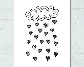 Heart Rain Cloud Doodle Print