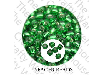 100 Spacer Beads | 4mm | Green with Silver Lining | Glass Spacer Beads | Filler Beads | Seed Beads | Non tarnish Spacer Beads