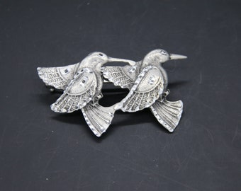 double humming bird barrette. 50 mm french clip