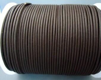 Dark Brown 2 mm leather cord - 25 yards