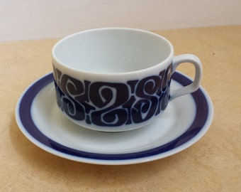 Mosa 12 and 21, Maastricht, Netherlands: vintage seventies teacup with saucer, dark blue decoration