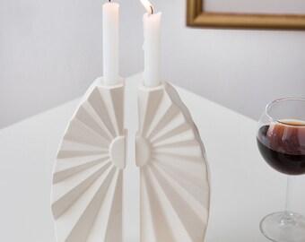 Ceramic gift, Geometric Shabbat candle holders, Geometric judaica, Wedding gift, gift from Israel, Handmade in israel, Mother's day gift