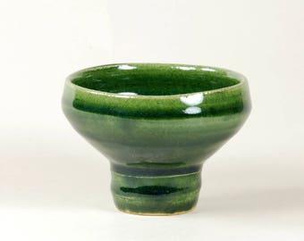 Bright green ceramic footed bowl