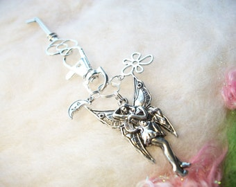 Key Ring Charms Pixie Fairy Keychain Butterfly Fairy Charm Extra Keys Stocking Stuffer, Shiny Silver Key Ring Antiqued Silver Charms