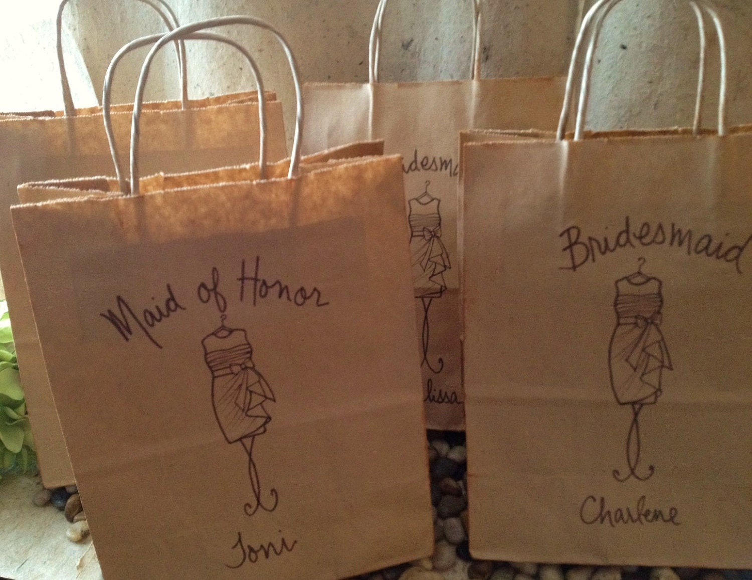 Set of 5 personalized gift bags wedding favor bags for your zoom negle Image collections