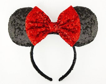 Minnie Mouse Ears Red Bow Black Sequin Minnie Mouse Headband Sequin Mickey Mouse Ears Sequin Minnie Ears Minnie Bow Mickey Ears Disney Ears
