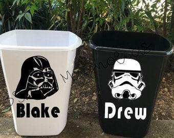 Personalized Star Wars Trashcan-Kids Room Decor-Kids Bathroom Wastebasket