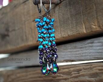 Color Block Cluster Earrings Sterling Silver Long Earrings by Letemendia Jewelry Handmade Boho