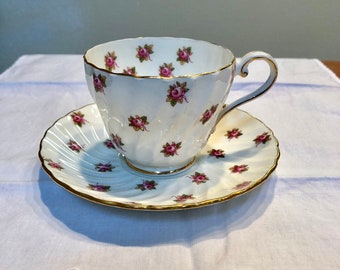 Vintage Aynsley Mini Roses Teacup and Saucer