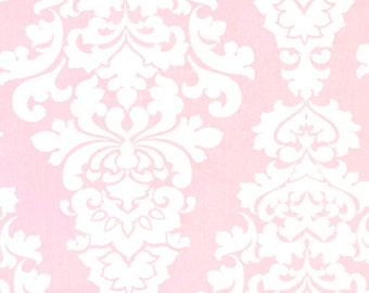 1 Yard Bella Pink Berlin Fabric - Premier Prints Fabric-  Pale Pink Large Floral Yardage - Fabric by the Yard