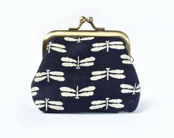 Kiss Lock Coin Purse Dragonfly Indigo Metal Frame Clasp Purse- Small Kisslock Coin Purse- Traditional Japanese- Gamaguchi- Gift for Women