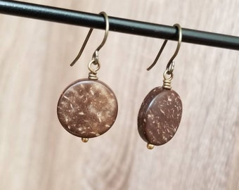 Antique Brass & Carved Wood Drop Earring
