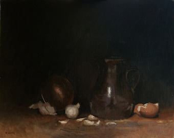Still life with Garlic, Eggs, Jug, and Copper Bowl - original oil painting