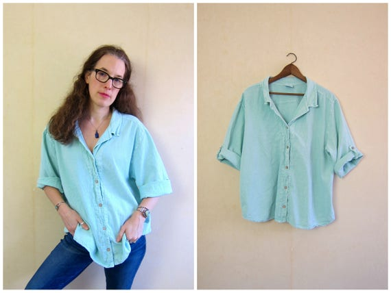 Oversized Cotton Top Basic Button Up Mint Green Tshirt Minimal Textured Cotton Tee Sea Breeze Slouchy Shirt Simple Blue Top Womens XL 2XL