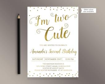 2nd birthday invite etsy im two cute invitations second birthday invitation gold baby 2nd birthday invite filmwisefo Choice Image