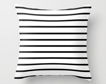 Striped Pillow, Velvet Cushion Cover, Black and White Pillows, Kids Cushion, Kids Room Decor, Boys Pillow, Girls Room Decor, Dorm Room