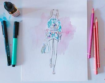 Fendi Spring 2017 Original Watercolour Fashion Illustration, Fashion Sketch, Watercolour Illustration, Fashion Art