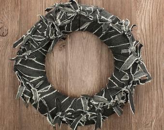 "Black Wreath - 12"" Hand Knotted Cloth Wreath - Halloween Door Decoration"